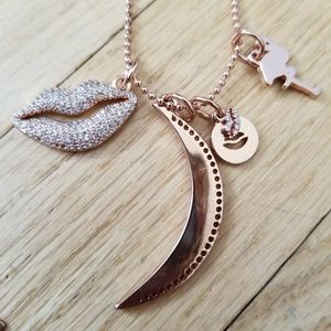 BaubleBar Rose Gold Long Necklace with Charms